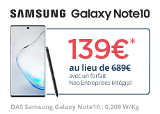 Le Samsung Galaxy Note10 à 139€